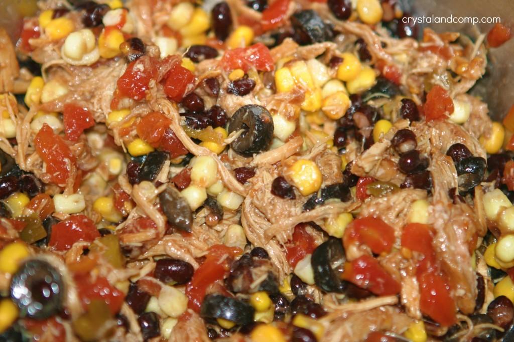 black beans corn olives
