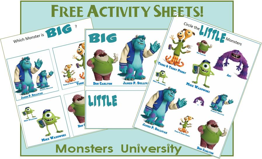 Monsters University Printables