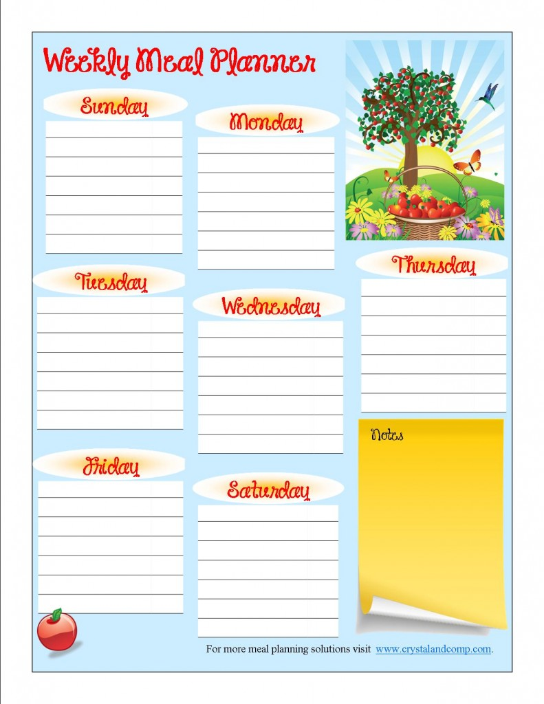 free printable meal planner september