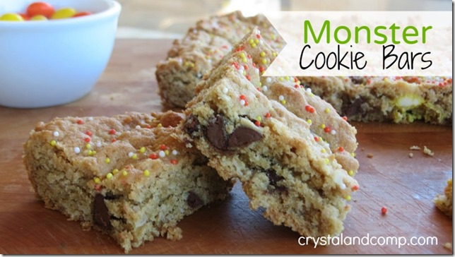 letter of the week preschool snack Monster cookie bars