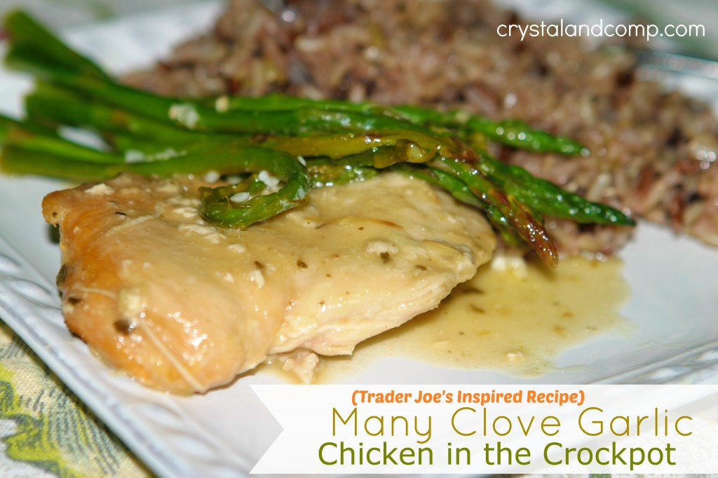 easy recipes trader joes inspired manyclove garlic chicken in the crockpot