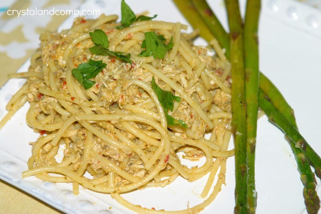 easy recipes pesto red pepper chicken spaghetti
