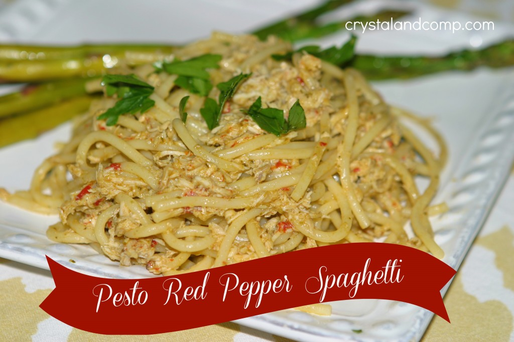 easy recipes pesto red pepper spaghetti trader joes